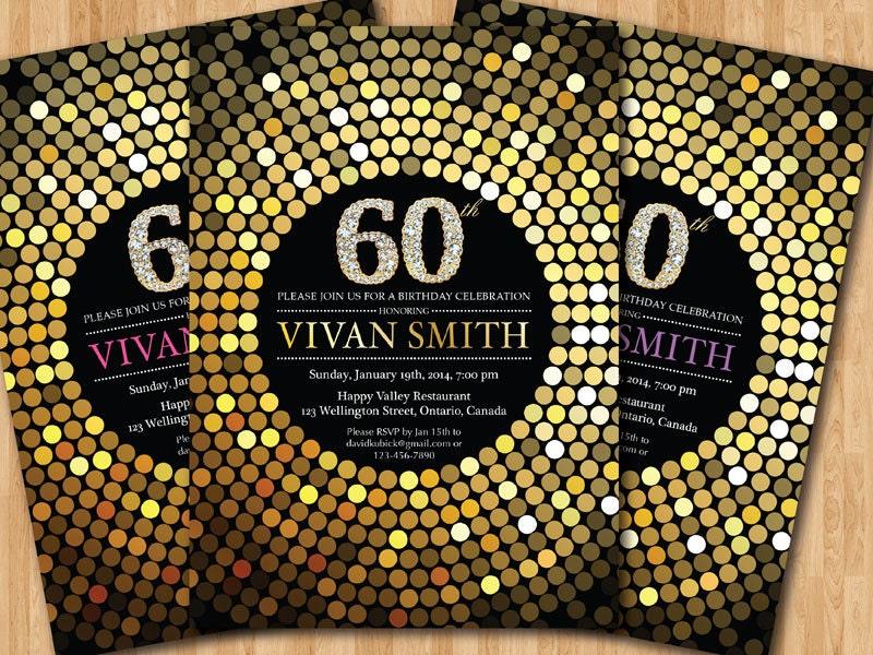 60th Birthday Invitation For Women Gold Glitter