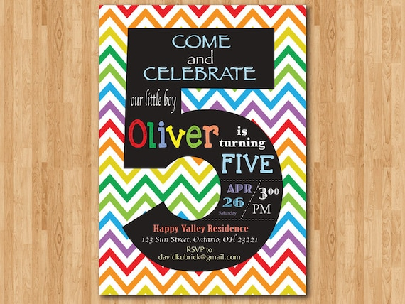 rainbow 5th birthday invitation  colorful chevron birthday
