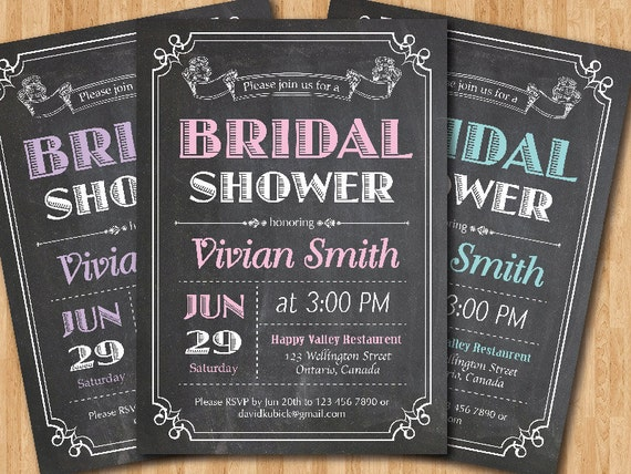 Chalkboard bridal shower invitation wedding shower pink etsy image 0 filmwisefo