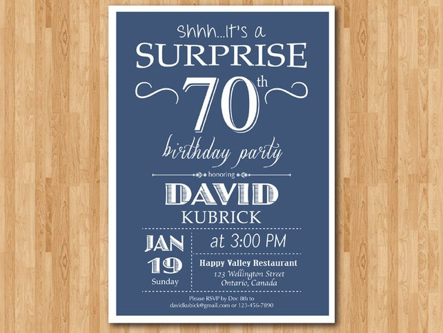 Surprise 70th Birthday Invitation 80th 90th Blue Red Green Black Any Color 40th 50th 60th