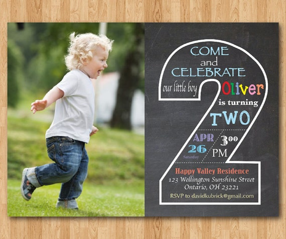 Chalkboard Second Birthday Invitation With Picture 2nd