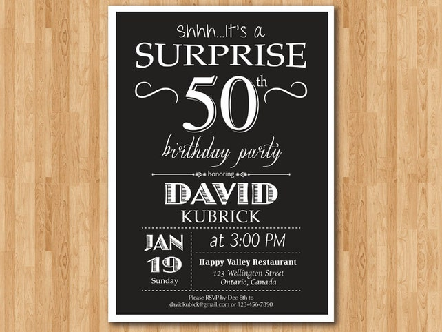 Surprise 50th Birthday Invitation For Men Adult 60th 70th 80th 90th Any Age