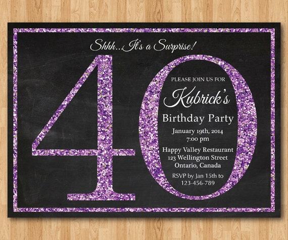 40th Birthday Invitation Purple Glitter Birthday Party Invite Etsy