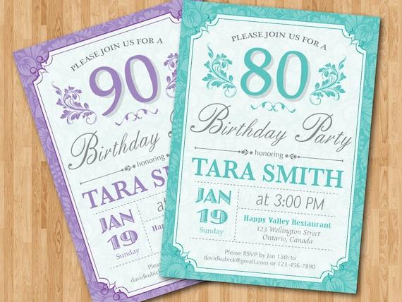 Invitación Del Cumpleaños 80 Años Para Las Mujeres Púrpura Azul Cualquier Color Fiesta De Cumpleaños De Adultos 90 80 70 Cualquier Edad