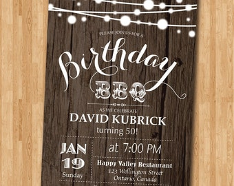 50th Birthday BBQ Invitation. Wood Rustic. BBQ Party Invitation. Surprise Birthday. Backyard string lights. Printable Digital