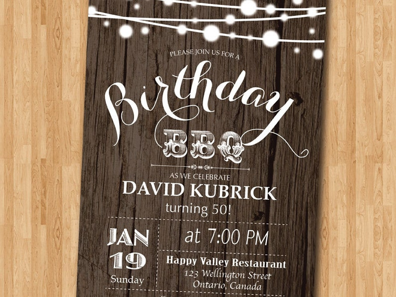 50th Birthday BBQ Invitation Wood Rustic Party
