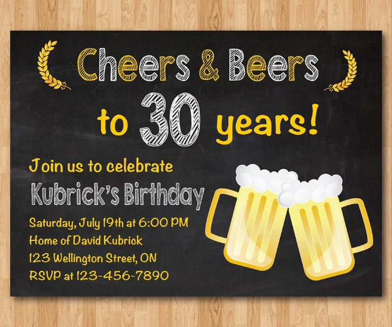 30th Birthday Invitation Beer Party Invitations Chalkboard