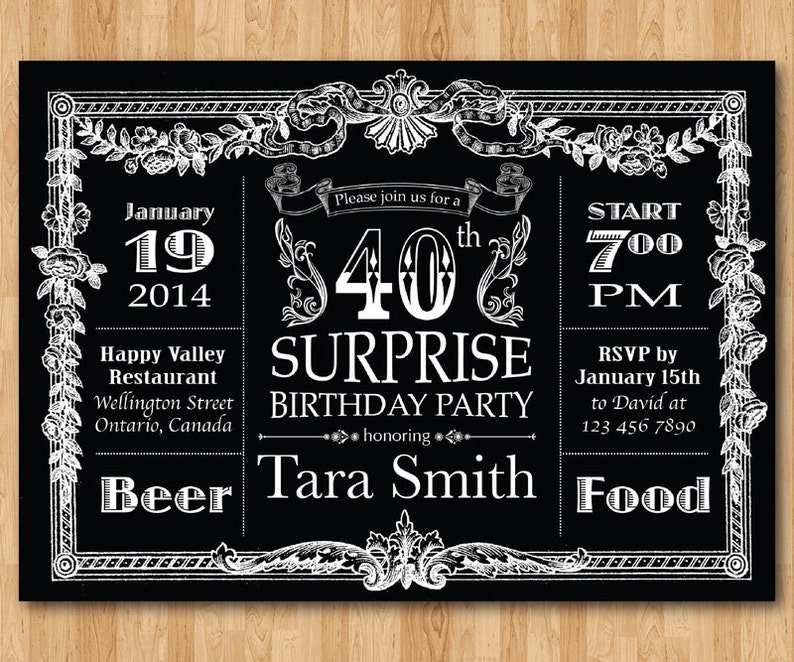 40th Birthday Invitation Chalkboard Surprise Men