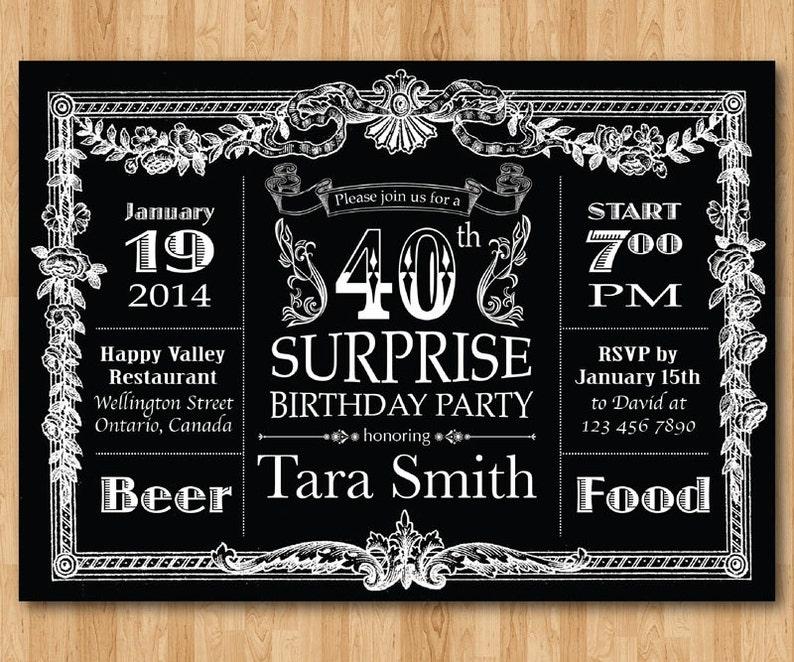 40th Birthday Invitation Chalkboard Surprise Men