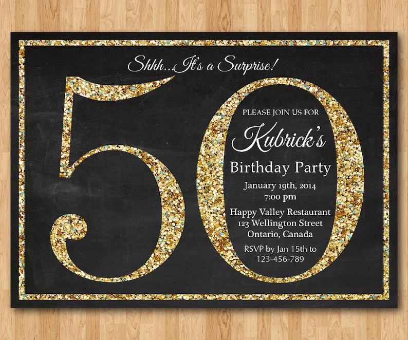 50th Birthday Invitation Gold Glitter Party Invite
