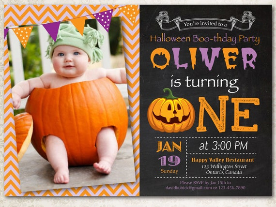 Halloween Birthday Invitation Photo 1st First