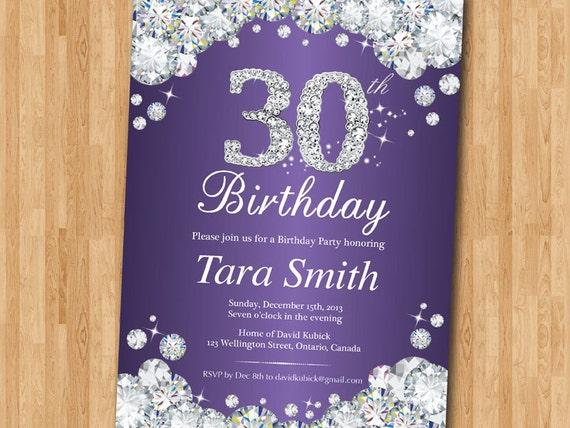 30th Birthday Invitation Rhinestone Diamond Elegant