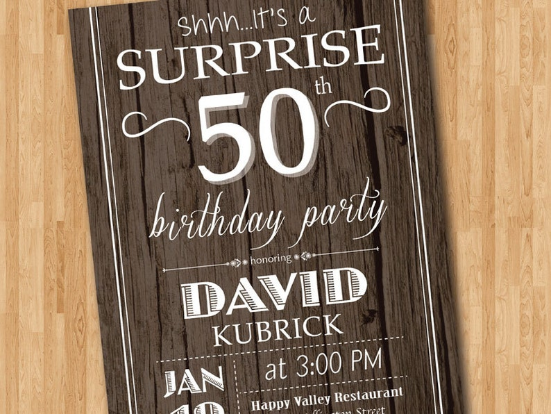 Surprise 50th Birthday Invitation Wood Texture Rustic