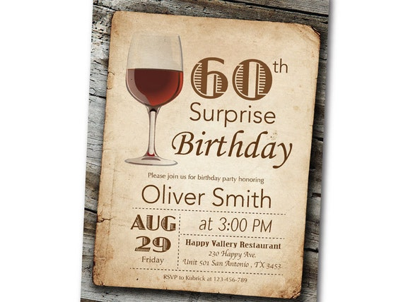 Invitation Anniversaire Vin Anniversaire Surprise Vintage Retro Bois Birthday Party Invitation Dégustation Homme Ou Femme Tous Ages Imprimable