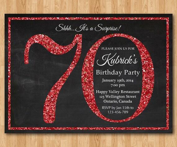 70th Birthday Invitation Red Glitter Party Invite