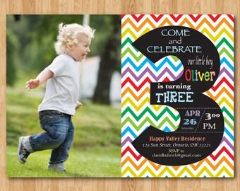 Rainbow 3rd Birthday Invitation. Chevron Third Birthday Party Invite with custom photo. Chalkboard. Boy or Girl. Printable digital DIY.