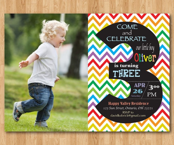 Rainbow 3rd Birthday Invitation Chevron Third Party