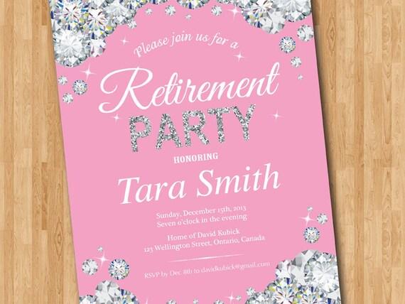 Invitación De La Jubilación Invitación Fiesta De Jubilación Púrpura Rojo Turquesa Rosa Cualquier Color Jubilación Celebración Elegante Diamante
