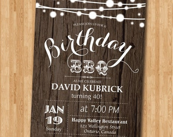 40th Birthday BBQ Invitation. Wood Rustic. BBQ Party Invitation. Surprise Birthday. Backyard string lights. Printable Digital