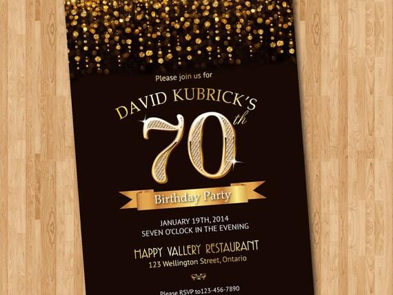 70th Birthday Invitation Gold Glitter Diamond Number