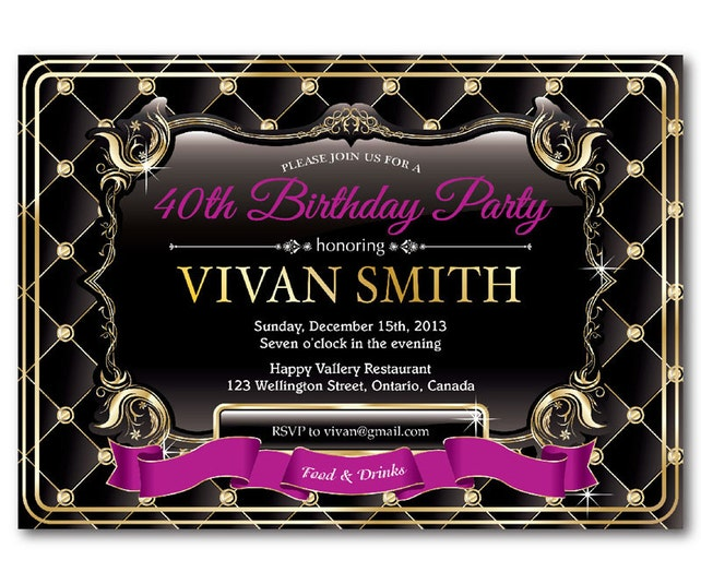 40th Birthday Invitation For Women Elegant Glitter Gold Party Invite Pink Red Purple Black