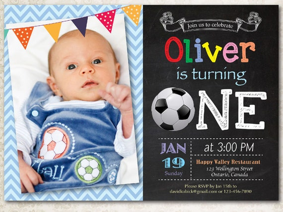 Soccer Birthday Invitation Baby Boy 1st First Party