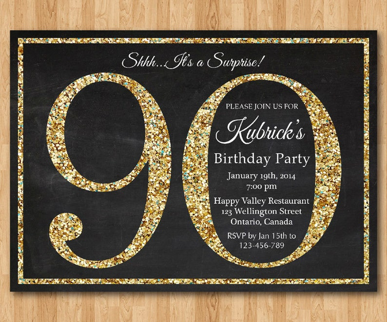 90th Birthday Invitation Gold Glitter Party Invite