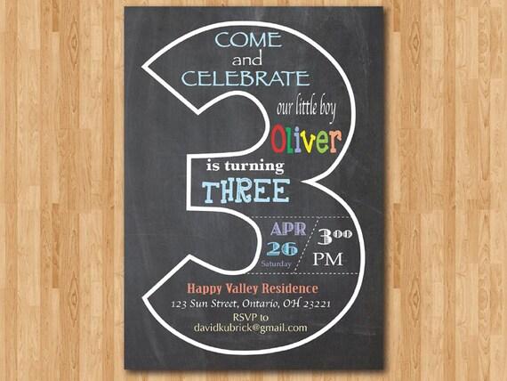 Etwas Neues genug Tafel 3. Geburtstag Einladung. Dritten Geburtstag einladen.   Etsy #CU_41