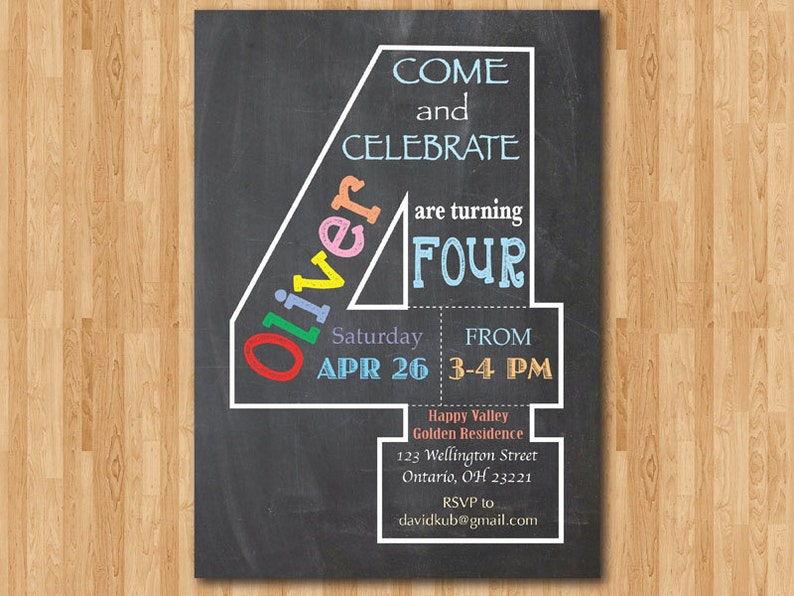 Chalkboard 4th Birthday Invitation Fourth Invite