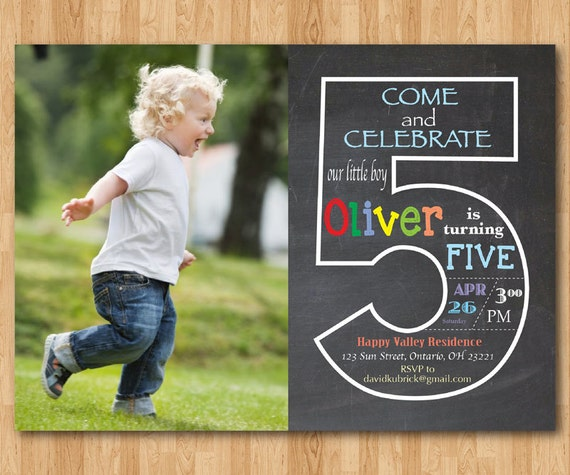 Chalkboard 5th Birthday Invitation With Picture Fifth