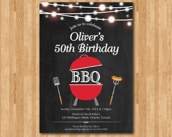 BBQ Birthday Invitation. Chalkboard BBQ Adult Barbecue Birthday Party. 1st 2nd 3rd 30th 40th 50th 60th 70th 80th any age. Printable digital