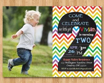Rainbow 2nd Birthday Invitation. Chevron Second Birthday Party Invite with custom photo. Chalkboard. Boy or Girl. Printable digital DIY.