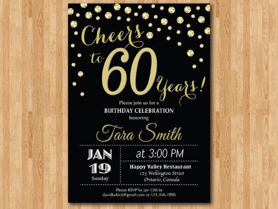 Invitación De Cumpleaños 60 Oro Brillo Saludos A La Fiesta De Cumpleaños De 60 Años 30 40 50 60 70 80 90 Cualquier Edad Digital Para Imprimir