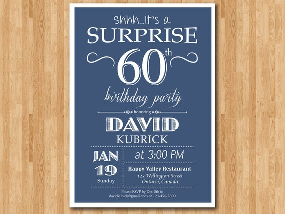 Surprise 60th Birthday Invitation Blue Red Green Black Any Etsy