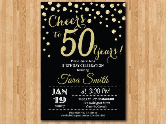 Invitación De Cumpleaños 50 Oro Brillo Saludos A La Fiesta De Cumpleaños De 50 Años 30 40 50 60 70 80 90 Cualquier Edad Digital Para Imprimir