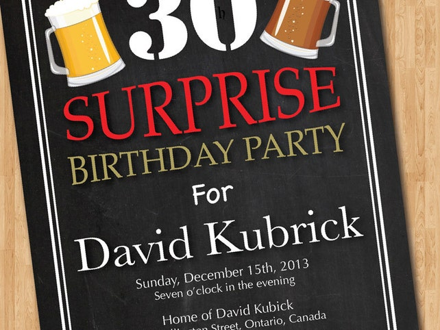 Surprise 30th Birthday Invitation Beer Birthday Party Invitations