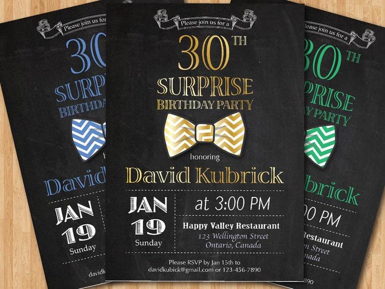 30th Birthday Invitation For Men Bowtie Little Man Invite