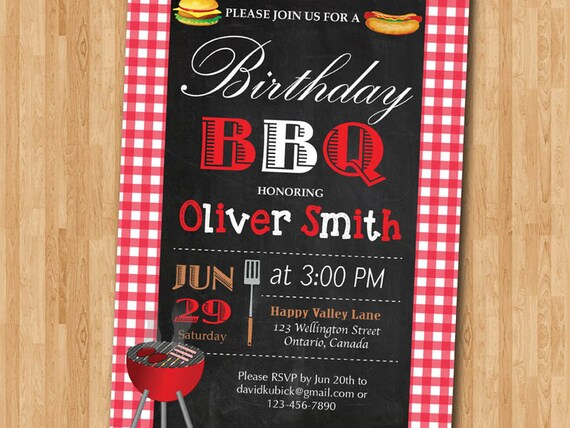 bbq birthday invitation bbq party invitation summer picnic etsy