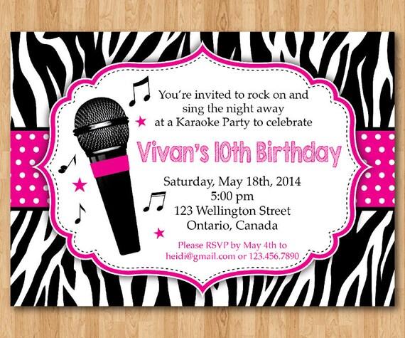 Karaoke Party Invitation Girl Karaoka Birthday Rockstar Party