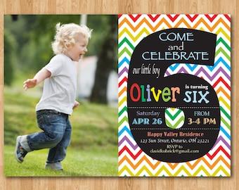 Rainbow 6th Birthday Invitation. Chevron Sixth Birthday Party Invite with custom photo. Chalkboard. Boy or Girl. Printable digital DIY.
