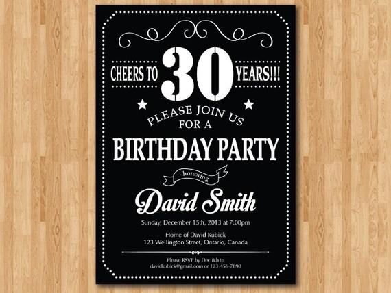 30th birthday invitation chalkboard black white 40th 50th etsy filmwisefo