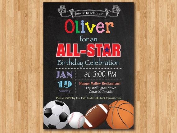 All Star Birthday Invitation Boy Sport