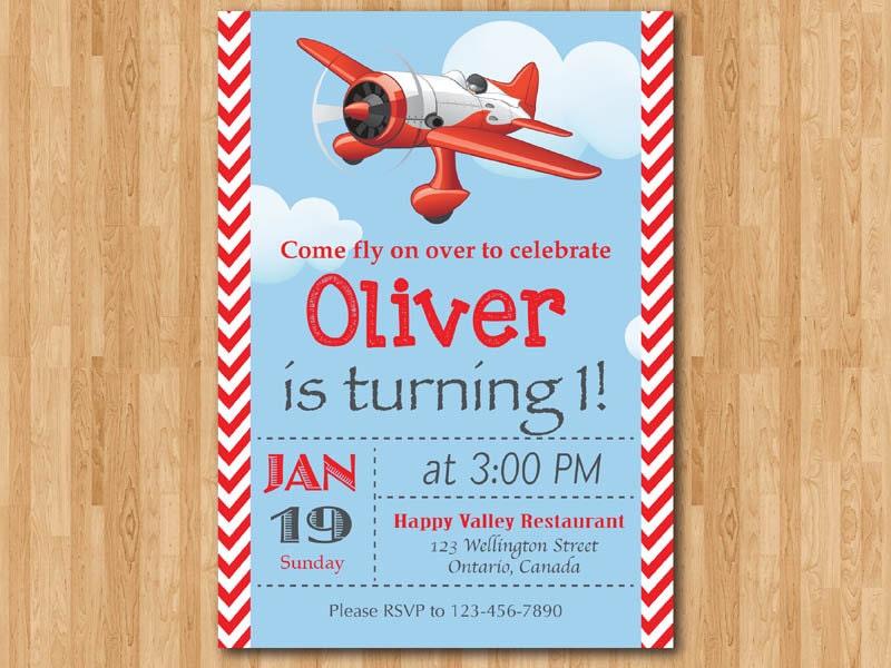 Airplane Birthday Invitation Theme Party Invite Boy