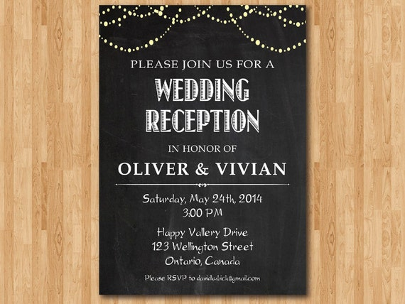 wedding reception invitation reception invite chalkboard etsy