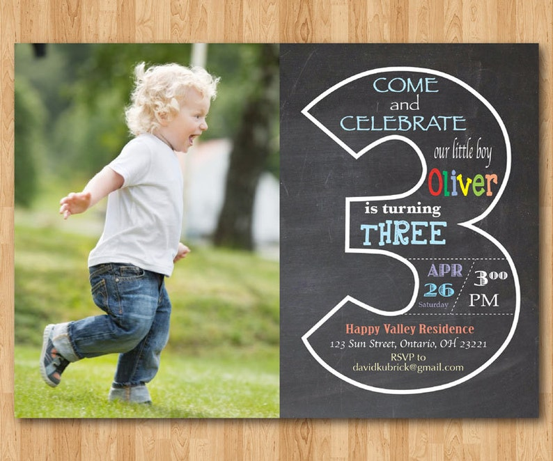 Chalkboard 3rd Birthday Invitation With Picture Third
