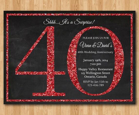 40 Anniversario Di Nozze Invito A Sorpresa Glitter Rosso Etsy