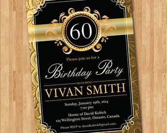Surprise 60th birthday invitation gold glitter chevron 60th birthday invitation gold glitter black chalkboard adult surprise birthday birthday party invite filmwisefo