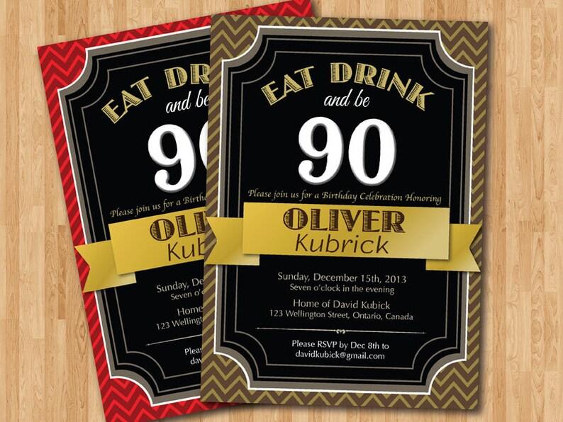 67fe46d210 Or rouge brun noir. 90e anniversaire Invitation. Anniversaire