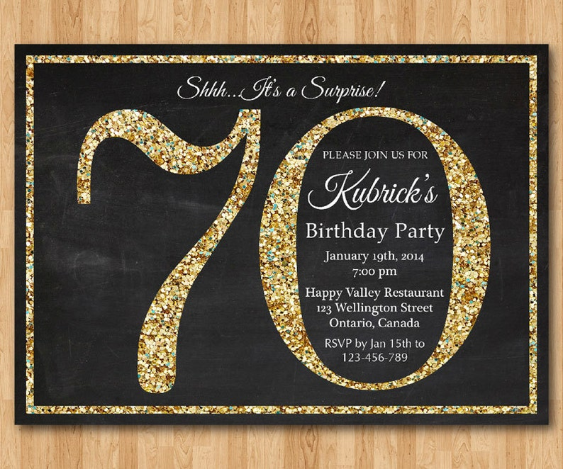 70th Birthday Invitation Gold Glitter Party Invite