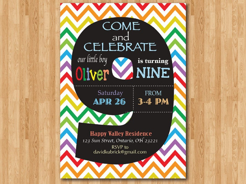 Rainbow 9th Birthday Invitation Colorful Chevron